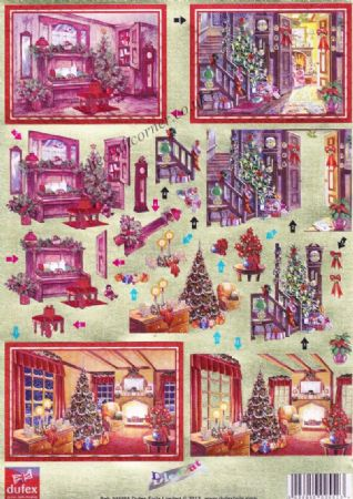 Christmas Interior Scenes Die Cut 3d Decoupage From Dufex